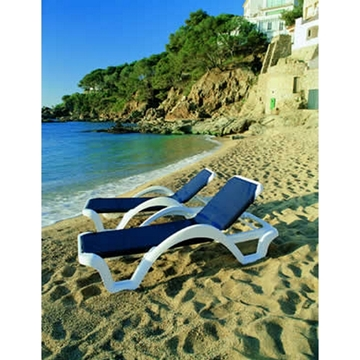 Catalina Plastic Resin Sling Stackable Chaise Lounge
