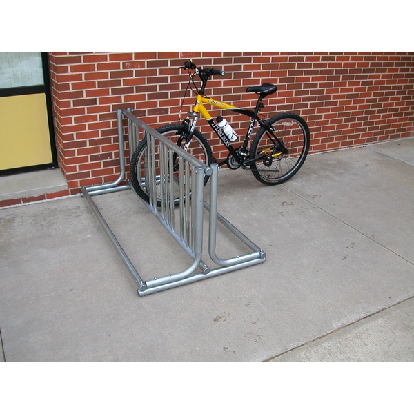 Picture of 18 Space Bicycle Rack, 10ft. Length, Galvanized 1 5/8 In. OD Pipe with 1 In. OD Stalls, Portable