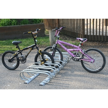 6 Space Low Profile Bike Rack 5 Ft. 1 1/16 In. Galvanized Tube