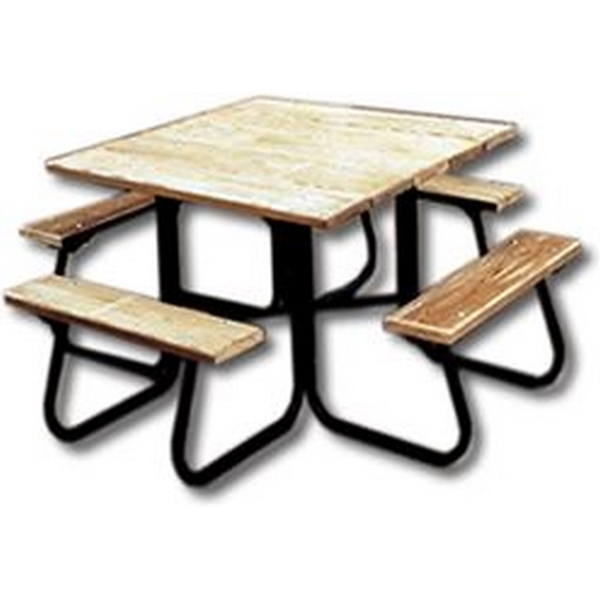 Square Picnic Tables 48 In. Wooden Top and Bench Seats