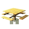 Single Post Square Wooden Picnic Tables 48 In.