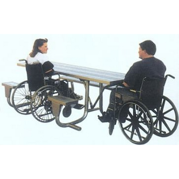 ADA Aluminum Picnic Table 2 Space Wheelchair Access Rectangular 8 Ft. with 2 3/8 In. Galvanized Steel