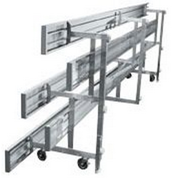 Tip and Roll 3 Row Bleachers 7.5 Foot Aluminum