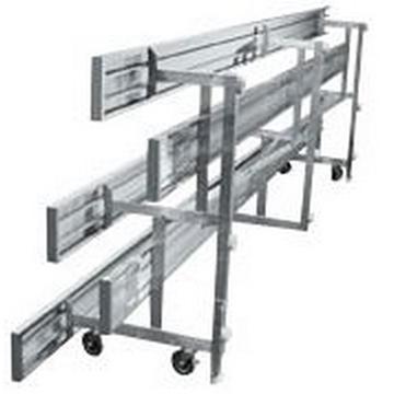 Tip and Roll 3 Row Bleachers 7.5 Ft. Aluminum