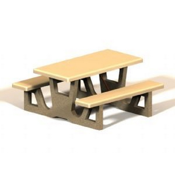 Concrete Rectangular Picnic Table 60 In. Concrete with Exposed Aggregate