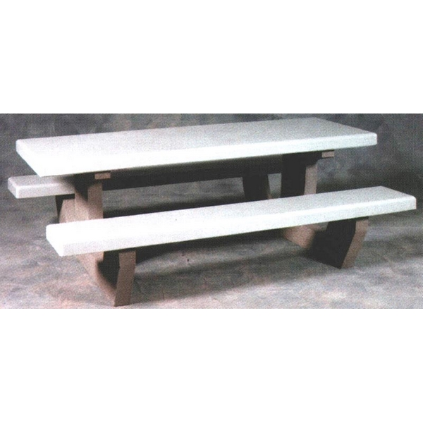 Picture of Concrete Rectangular Picnic Table, Heavy Duty Walk Thru 84 In. Concrete, Commercial