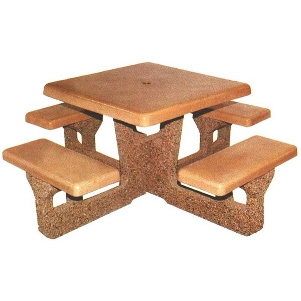 Square Concrete Picnic Table 66 In. Concrete