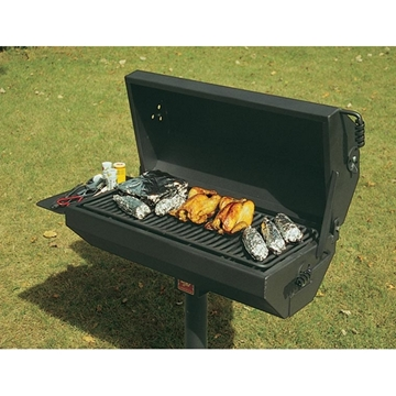 Picture of Covered Barbecue Grill with Shelf 320 Square In. Steel, In-Ground Mount