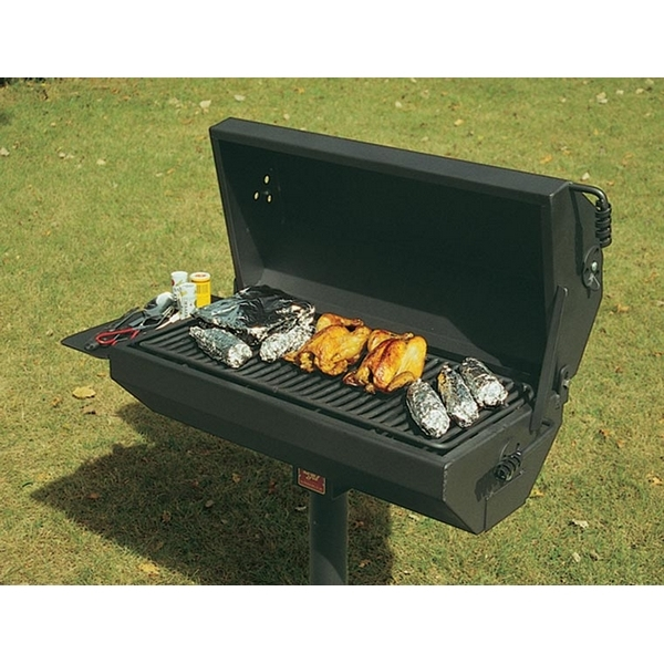 Covered Barbecue Grill with Shelf 320 Square In. Steel