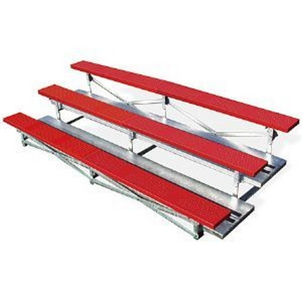 3 Row 15 Ft. Powder-Coated Bleacher with Portable Galvanized Steel Frame