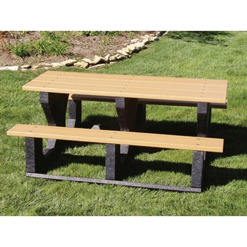 Picture of Rectangular Recycled plastic  Picnic Table seats 6 adults made from Recycled Plastic, Portable