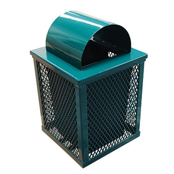 32gal. Square Trash Receptacle with Arch Top, Plastic Coated Expanded Metal