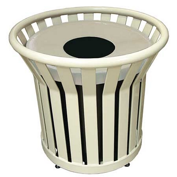 Trash Receptacle Round 22 Gallon Plastic Coated Steel with Spun Metal Top