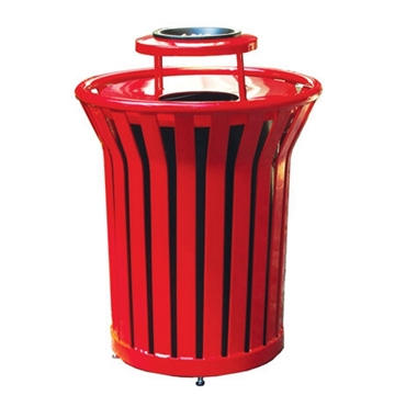 Round Trash Receptacle with Ash Top 32 Gallon Plastic Coated Welded Steel