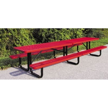 Picnic Table Rectangle 12 Ft. Plastic Coated Perforated Metal with Powder Coated 2 3/8 In. Steel Tube