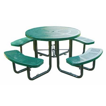 Round Thermoplastic Picnic table 46 In. Plastic Coated Perforated Metal with Powder Coated Steel Tube