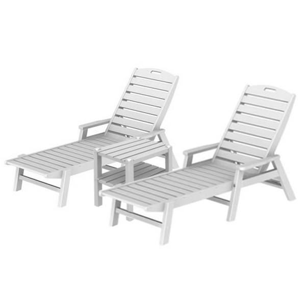 Picture of Polywood Captain Lounge Set, 2 Captain Style Recycled Plastic Chaise Lounges and 1 Two-Shelf Square Side Table