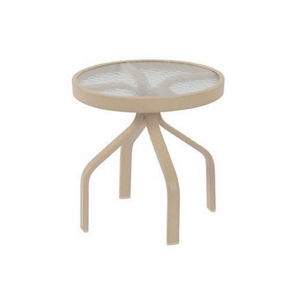 """Round Pool Side Tables, 18"""" Acrylic Top with Aluminum Frame"""