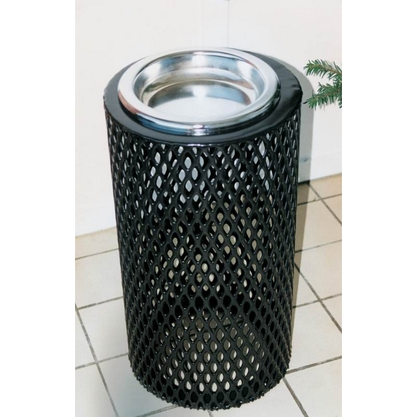 Picture of Round Ash Urn 11x24 In. Plastic Coated Expanded Metal with Steel Tray