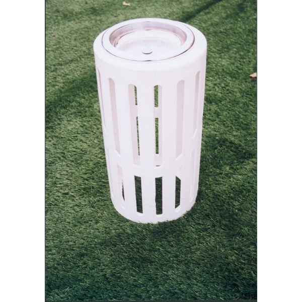 Picture of Round Ash Urn 11x24 In. with Plastic coated Ribbed Steel and Steel Tray