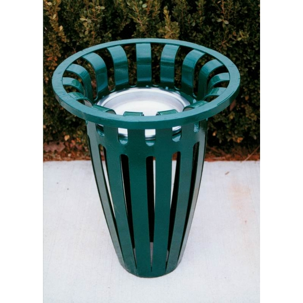 Picture of Flared Top Round Ash Urn 11x24 In. Plastic Coated Ribbed Steel with Steel Tray, Portable