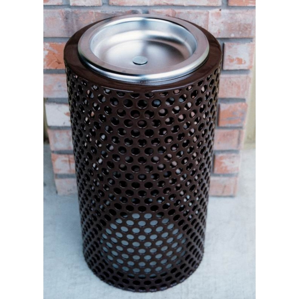 Picture of Round Ash Urn 11x24 In. Plastic Coated Perforated with Steel Tray, Portable