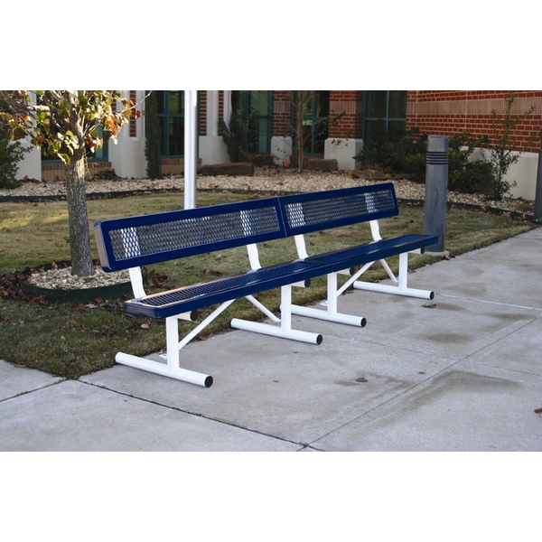 Picture of Bench With Back 10 foot Plastic Coated Expanded Metal with Welded Angle Iron Frame, Portable