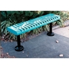 Picture of Bench without Back 4 Ft.  Plastic Coated Ribbed Steel with 2 3/8 In. Galvanized Steel, Surface Mount