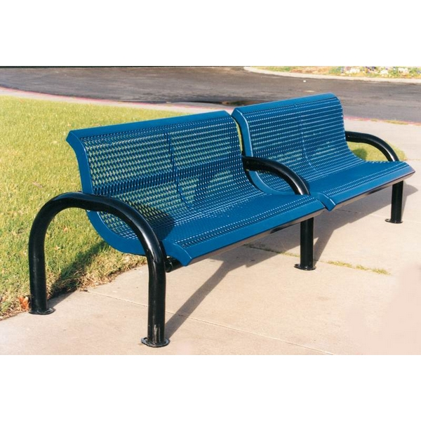 Picture of Bench With Back 4 Ft. Add-On Plastic Coated Expanded Metal with 2 7/8 In. Bent Frame, Portable or SurfaceMount