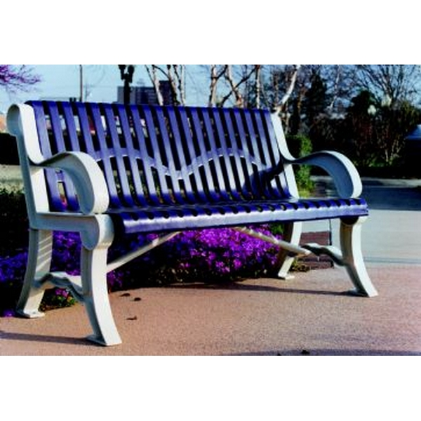 Picture of Bench With Back 5 Ft. Plastic Coated Ribbed Steel with Cast Aluminum, Portable or Surface Mount