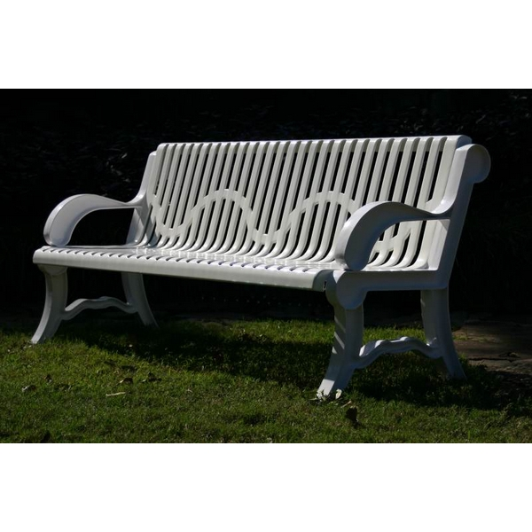 Picture of Bench With Back 6 Ft. Plastic Coated Ribbed Steel with Cast Aluminum, Portable or Surface Mount