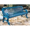 Picture of Bench With Back 6 foot Plastic Coated Expanded Metal with Cast Aluminum, Portable or Surface Mount