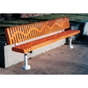 Picture of Bench with Back 8 Ft.  Plastic Coated Ribbed Steel with 2 3/8'. Galvanized Steel, Surface Mount