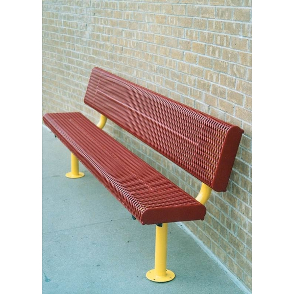 "Picture of Bench With Back 8 Ft. Plastic Coated Rolled Expanded Metal with 2 3/8"" Galvanized Steel, Surface Mount"