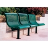 Picture of 3 Seat Straight Bench With Back Plastic Coated Expanded Metal with 2 7/8'. Galvanized Steel, Surface Mount