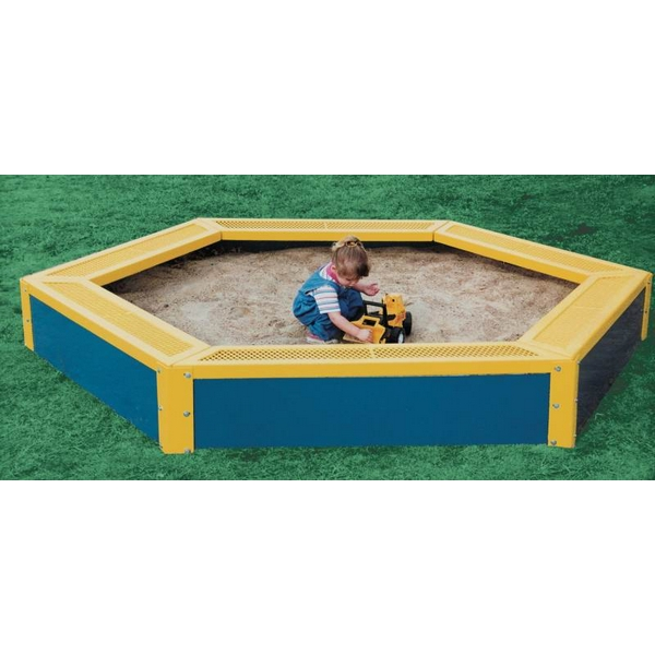 Picture of Children's Hexagon Children's Sandbox 6 seat 120 x 102 In. Plastic Coated Expanded Metal