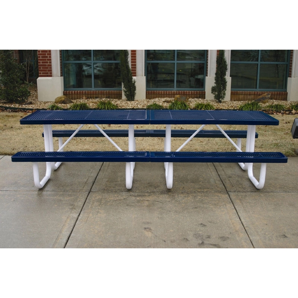 Picture of Rectangular Thermoplastic Picnic Table 10 Ft. Plastic Coated Expanded Metal with Welded 2 3/8 inch Galvanized Steel, Commercial