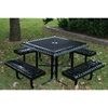 "Picture of Square Thermoplastic Picnic Tables 46""  Attached Seats Plastic Coated Rolled Expanded Metal with Welded 2"" Galvanized Steel, Commercial"