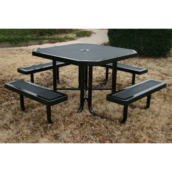 "Picture of Octagonal Thermoplastic Picnic Tables 46"" Attached Seats Plastic Coated Perforated with Welded 2"" Galvanized Steel, Commercial"