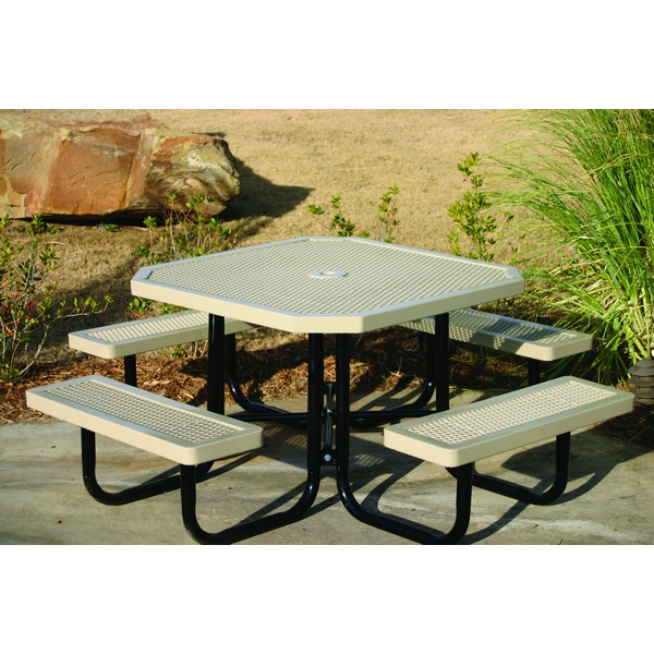 """Picture of Octagonal Picnic Table Regal Style with 46"""" Attached Seats and Plastic Coated Expanded Metal with Welded 2"""" Galvanized Steel, Portable"""