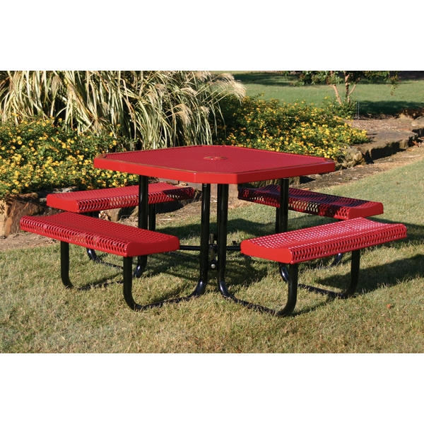 Picture of Picnic Table Octagon 46 In. Attached Seats Plastic Coated Expanded Metal with Welded 2 In. Galvanized Steel, Portable