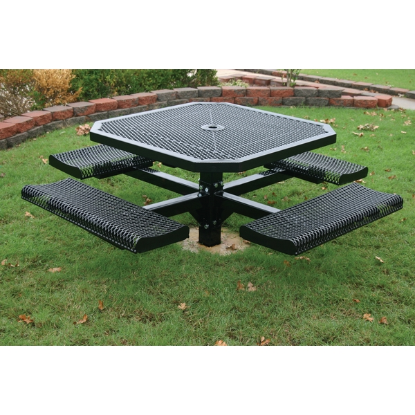 Picture of Octagon Picnic Table 46 In. Attached Seats Plastic Coated Rolled with 4 In. Pedestal In-Ground Mount