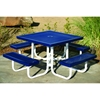 Picture of Square Thermoplastic Picnic Tables 46 In. Attached Seats Plastic Coated Expanded Metal with Welded 2 In. Galvanized Steel, Portable