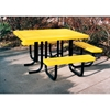 "Picture of ADA Wheelchair Accessible Picnic Table, 46"" x 57"" Tabletop with Attached Seats, Plastic Coated Expanded Metal with Welded 2 Inch Galvanized Steel, Portable"
