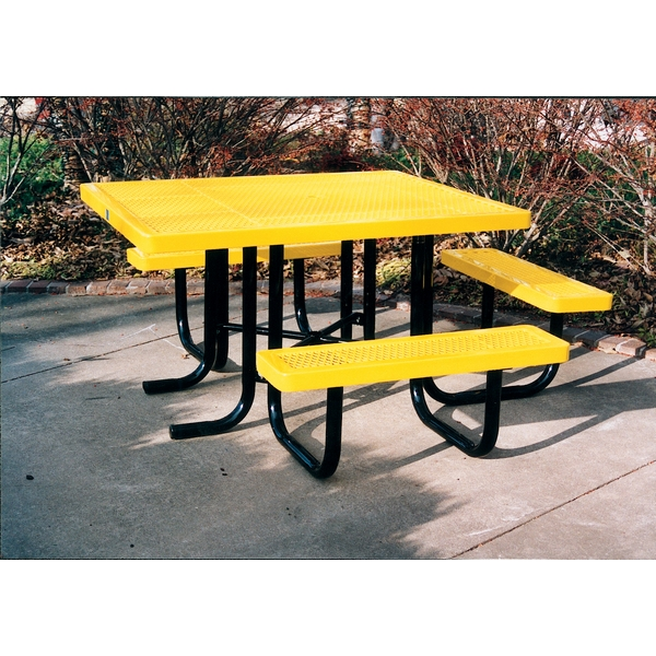 """Picture of ADA Wheelchair Accessible Picnic Table, 46"""" x 57"""" Tabletop with Attached Seats, Plastic Coated Expanded Metal with Welded 2 Inch Galvanized Steel, Portable"""