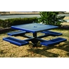 Picture of Square Thermoplastic Picnic Tables 46 inch with Four Attached Seats Plastic Coated Expanded Metal with 4 In. Pedestal In-Ground Mount, Commercial
