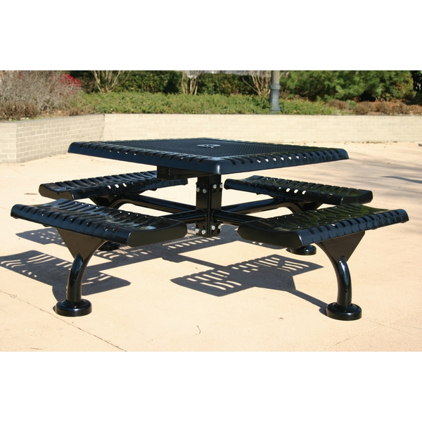 Picture of Square Thermoplastic Picnic table 46 In. Attached Seats Plastic Coated Rolled Expanded Metal with Bolted 2 7/8 In. Galvanized Steel, Portable or Surface Mount
