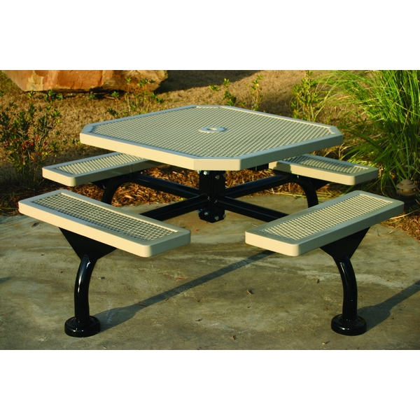 Picture of Octagonal Picnic Table 46 In. Attached Seats Plastic Coated Expanded Metal with Bolted 2 7/8 In. Galvanized Steel, Portable or Surface Mount
