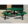 Picture of Square Picnic Table 46 Inch Attached Seats Plastic Coated Rolled Expanded Metal with Bolted 2 7/8 Inch Galvanized Steel, In-Ground Mount
