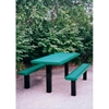 Picture of Rectangular Picnic Table 6 Ft. 2 Un-Attached Seats Plastic Coated Perforated Steel with 4 In. Square Legs, Inground Mount